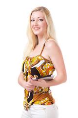 junge blonde Frau mit Tablet Computer