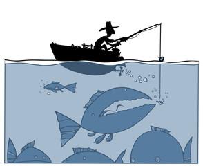 Fishing silhouette Illustration.