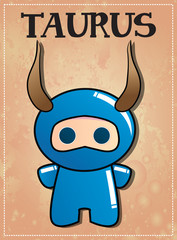 Zodiac sign Taurus with cute ninja character
