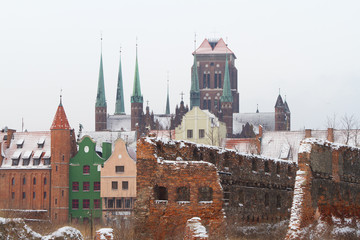 Ruins of old town in Gdansk at frosty winter, Poland