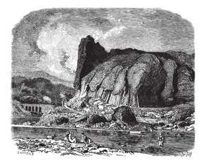 The basalts of Prades (Haute-Loire), vintage engraving.
