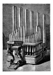 The Pyrophone, vintage engraving.
