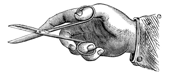 How to hold the scissors to make an incision, vintage engraving.