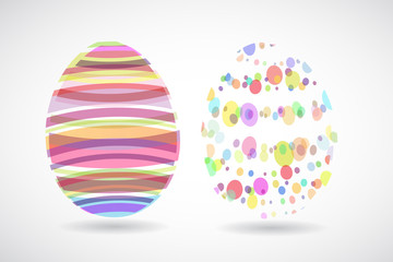 Easter eggs created from colorful stripes and dots.