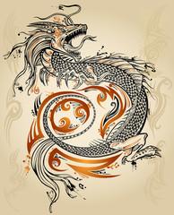 Self adhesive Wall Murals Cartoon draw Dragon Doodle Sketch Tattoo Icon Tribal grunge Vector