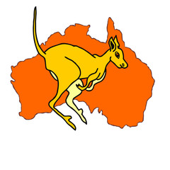 kangaroo cartoon australia map mainland
