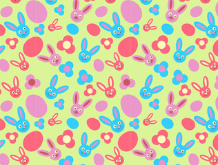 pattern with rabbit, eggs and flowers