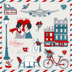 Wall Murals Doodle Paris travel icons