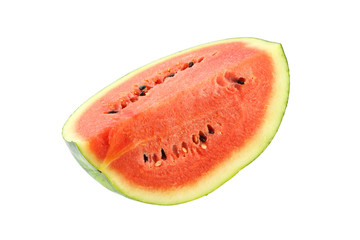 Part of red watermelon top side on white background