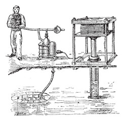 Hydraulic press or Bramah press vintage engraving