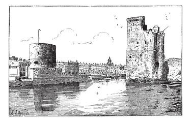 Port of La Rochelle, France, vintage engraving.