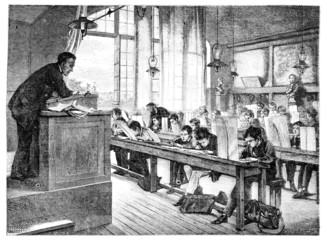 Salon of 1874; paint. - A drawing lessons at school Cochin, by A