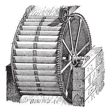 Waterwheel bucket, vintage engraving.