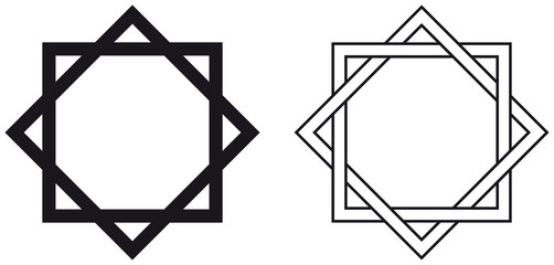 Octagram. The eight-pointed geometric star figure is the compound of two equilateral squares. The intersection is a regular octagon. Illustration on white background. Vector.
