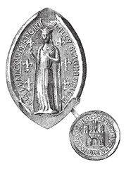 Seal against seal of Blanche of Castile, vintage engraving.