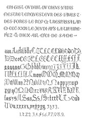 Fig. 7. Inscriptions, Gothic Alphabet Square, vintage engraving.