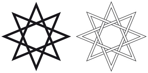 Octogram. Eight-pointed geometric star figure that can be drawn with seven straight strokes. Illustration on white background. Vector.