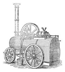 Vapor or Steam machine, vintage engraving.