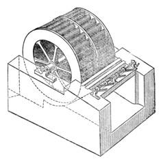 Turbine, vintage engraving.