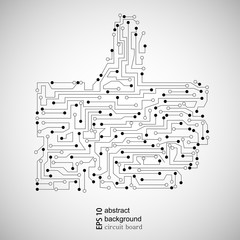 Vector circuit board thumb up. Abstract background