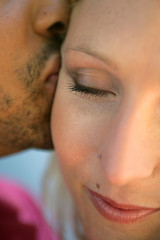 Close-up of couple kissing