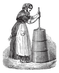 Woman churning butter with ordinary plunger vintage engraving