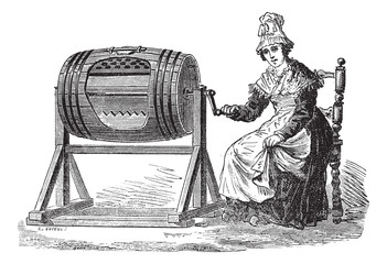 Woman using barrel churn for making butter vintage engraving