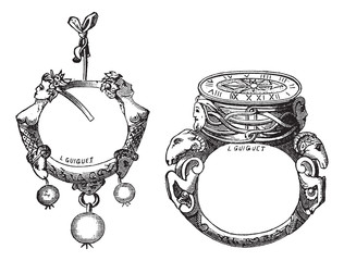 The earring and the ring of the sixteenth century vintage engrav
