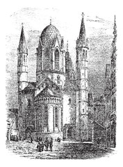 Mainz Cathedral or St. Martin's Cathedral in Mainz Germany vinta