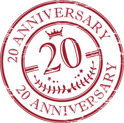 Stamp 20 anniversary, vector illustration