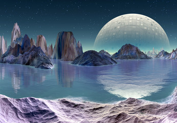 Alien Landscape with Moon and Mountains