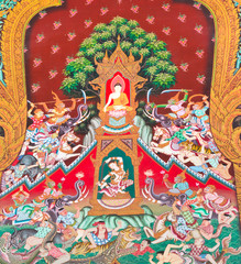 The Art thai painting on wall in temple