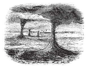 Waterspout, vintage engraving