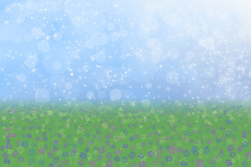 Pretty Spring Background Blue Sparkly Sky Meadow Grass Flowers