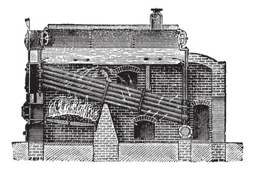 Babcock & Wilcox Boiler, vintage engraving