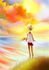 девчушка на прибрежном берегу