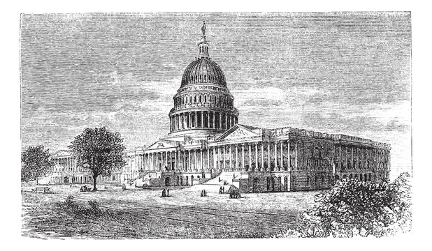 United States Capitol, in Washington, D.C., USA, vintage engravi