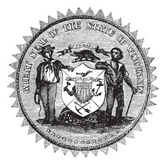 Great Seal of the State of Wisconsin USA vintage engraving