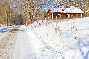 House in Sweden in wintertime.
