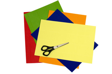 Colour corrugated paper and scissors