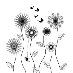 vector flowers, black and white