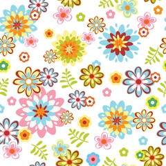 cute abstract seamless floral pattern