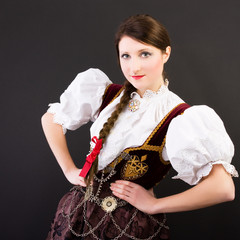Beauty woman in traditional clothes Silesia Poland
