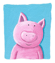 Cute pig on the blue background