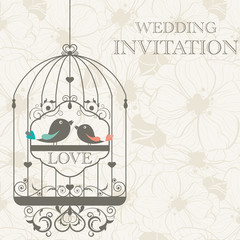 Zelfklevend Fotobehang Vogels in kooien Wedding invitation