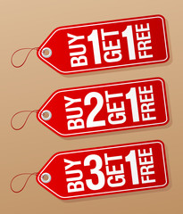 Buy one get one free, promotional sale labels set