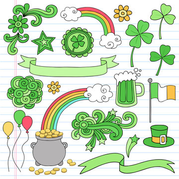 St Patrick's Day Doodle Icon Set Vector Illustration