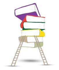 Wooden ladder standing near books pile .