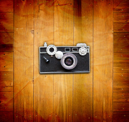 Vintage Pictures and Camera on Wooden Old Table
