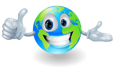 Globe mascot giving a thumbs up